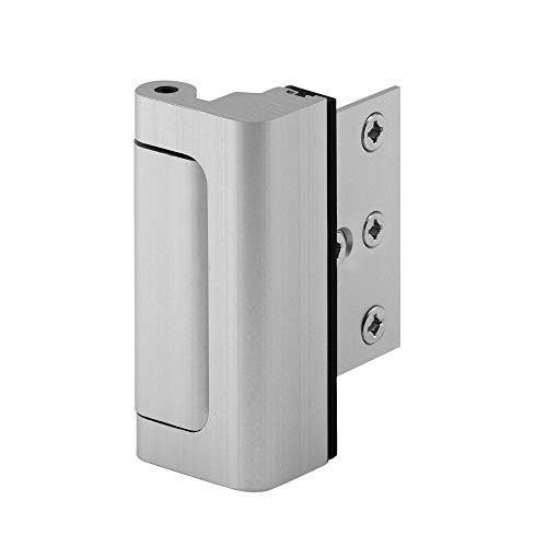 "- Defender Security U 10827 Door Reinforcement Lock – Add Extra, High Security to your Home and Prevent Unauthorized Entry – 3"" Stop, Aluminum Construction (Satin Nickel Anodized Finish)"
