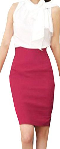 Womens Slim Fit Business Knee Long High Waist Office Pencil Skirt 8 Colors