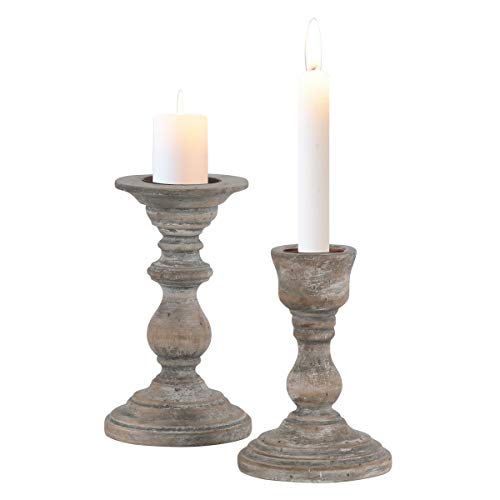 - DOCHEER Retro Wood Pillar Candle Holders Set of 2 Shabby Chic Vintage Wooden Candlesticks H7.0 inch, H6.0 inch, Home Decorations for Living Room, Dining Room Table,Kitchen, Party, Wedding