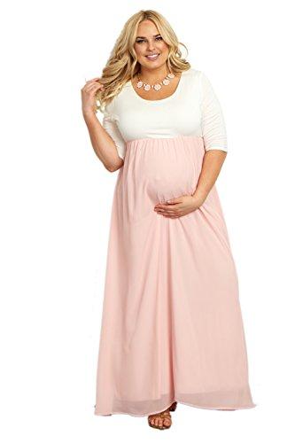 PinkBlush Maternity Light Pink Chiffon Colorblock Plus Maternity Maxi Dress, 2X