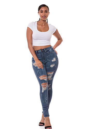Aphrodite High Waisted Jeans for Women - High Rise Skinny Womens Hand Sanding Distressed Ripped Contrast Brushed Lines 4478 Dark Blue 7 ()