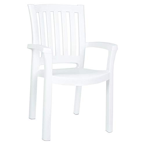 Compamia The Sunshine Resin Dining Armchair (Set of 4), White (Patio Chairs Stackable Resin)