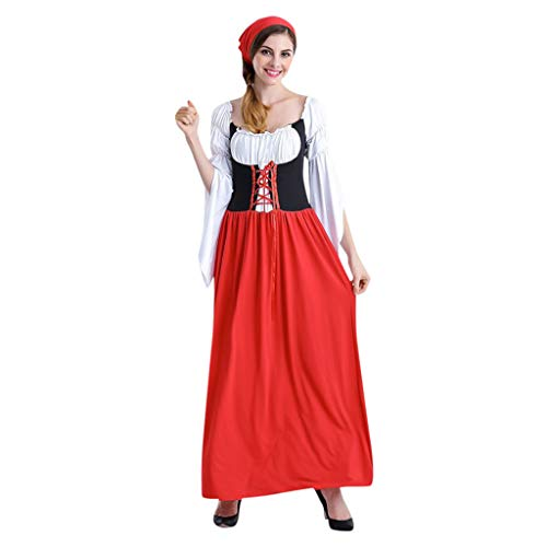Midi Dress Womens Retro Beer Festival Carnival Bavarian Oktoberfest Waitress Cosplay Costume Dresses for Halloween Red