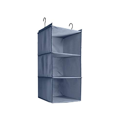 oset Organizer, Easy Mount Foldable 3-Shelf Hanging Closet Wardrobe Storage Shelves, Clothes Handbag Shoes Accessories Storage, Washable Oxford Cloth Fabric, Gray ()