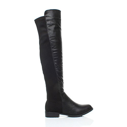 Ajvani Womens ladies high over the knee elastic curvy stretch pull on low heel boots size Black Matte Pull on 0mWjGw