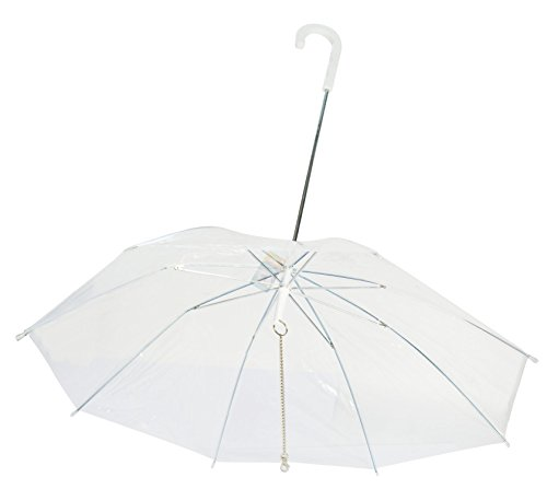 Perfect Life Ideas Pet Dog Umbrella with Leash - Easy View Clear Transparent Folding Puppy Umbrella for Small Dogs Puppies 20 Inches Back Length - Provides Protection from Rain Snow Wet Weather