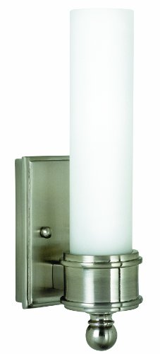 House Of Troy WL601-SN 10-1/4-Inch Cylinder Glass Wall Sconce, Satin Nickel with White Glass Shade