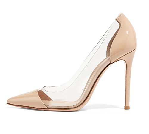 Sammitop Women's High Heels Patent Dress Pumps Stiletto with PVC Sides Shoes Beige US10.5