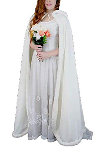 Bianco Inverno Artificiali Scialle Capelli Del Meibida Della Dello Caldo Partito Incappucciato Cappotto Dei Mantello Sposa Di qPZxzYZ8