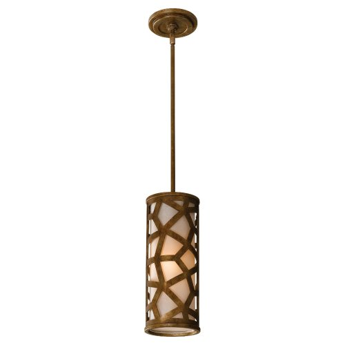 Medina Lamp - Murray Feiss P1182OBZ Medina Collection 1-Light Mini-Pendant, Oxidized Bronze Finish with Bronze Organza Glass Shade