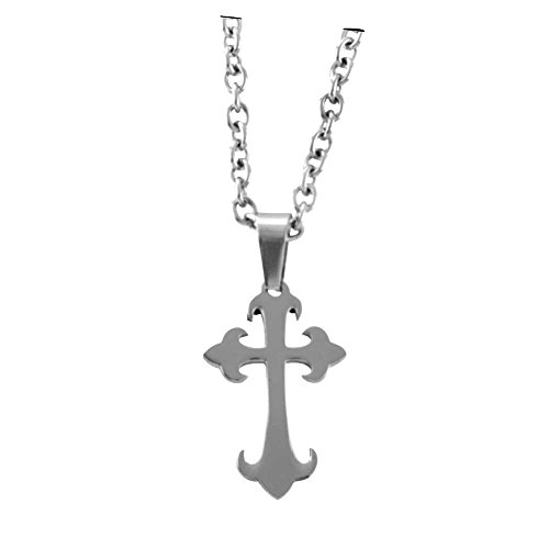 Tone Budded Cross (Dicksons Silver-Tone Large Budded Cross Stainless Steel 24-Inch Pendant Necklace)