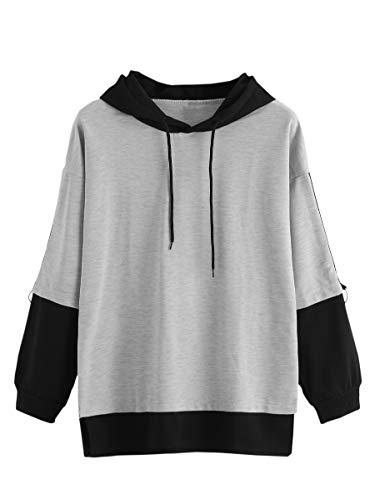 SweatyRocks Women's Casual Hoodies Long Sleeve Colorblock Drawstring Hooded Sweatshirt Grey XL