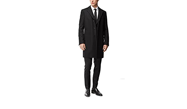 1dc3a500bc04 Amazon.com  Hugo Boss Men s Nye Wool-Cashmere Black Top Coat  Clothing