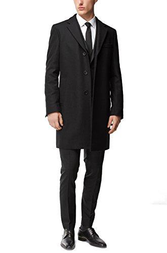 Hugo Boss Men's Nye Wool-Cashmere Black Top Coat - 46R