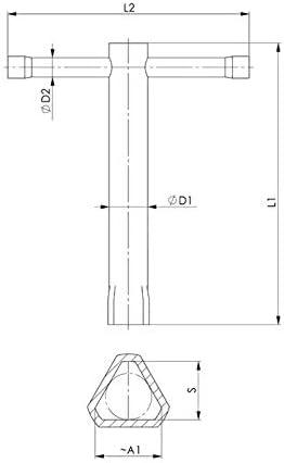 f/ür M12 DIN 22424 Dornschl/üssel Pfostenschl/üssel Dreikant 17mm DIN 3223 Dreikantschl/üssel