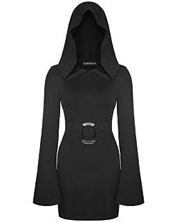 2ef58c680caf Punk Rave Capuche Mini Robe Noir pour Femmes Punk Gothique sorcière Occulte  Moulant Ceinture