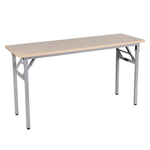 "Sunon Folding Training Table 55"" Rectangle Wood Folding Table with Full Assembly for Training/Meeting Room (Light Oak)"