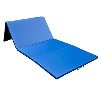 Gymmatsdirect 6PPVC Cloth+EPE Foam Core Gymnastics Gym Folding Exercise Aerobics Mats Stretching Yoga Mat, Blue,4'x10'x2""