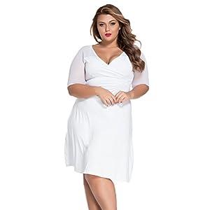 91c095be141e2 XAKALAKA Women s Sexy V Neck Plus Size Half Sleeves Night Club Dress