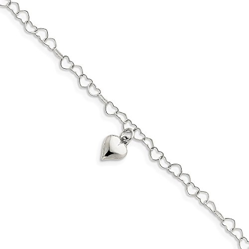 - 925 Sterling Silver Link Heart 1 Inch Adjustable Chain Plus Size Extender Anklet Ankle Beach Bracelet Fine Jewelry Gifts For Women For Her