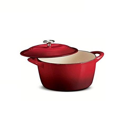 Tramontina Enameled Cast Iron Covered Round Dutch Oven, 6.5-Quart, Gradated Red