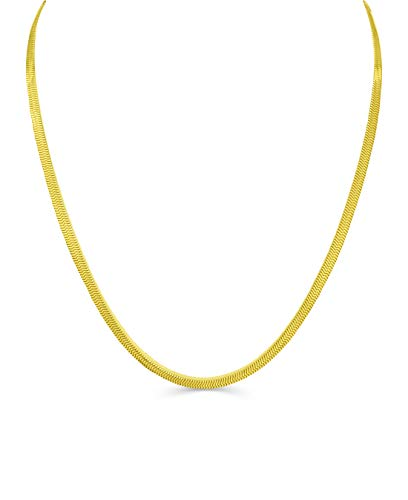 - BLING CULTURE Life Time Warranty 3mm 4mm 6mm 8mm 10mm 12mm Gold Herringbone Chain Free 3mm Bracelet (20, Yellow-Gold 3mm)
