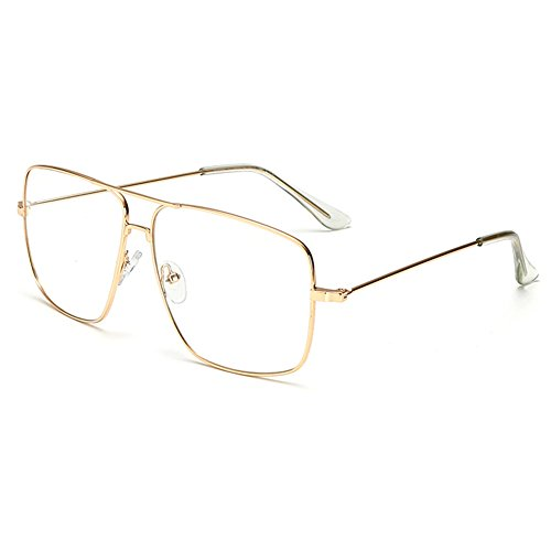 Dollger Classic Glasses Clear Lens Non Prescription Metal Frame Eyewear Men Women Gold