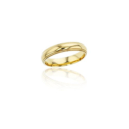 14K Yellow Gold Comfort Fit 4mm Milgrain Wedding Band by Decadence