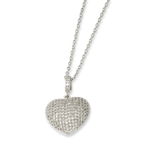 """Details about  /Brilliant Embers Sterling Silver and CZ Heart Charm Pendant with 18/"""" Necklace"""