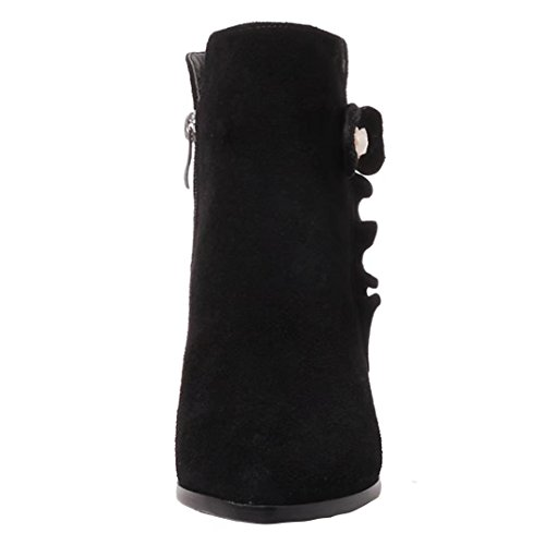 with Boots AIYOUMEI Ankle Pointed Autumn Winter Bootie Women's Toe Heel Black Bow Block Zipper vqPSa6wxv
