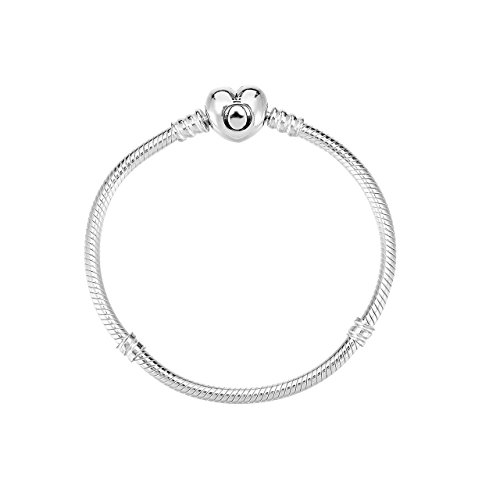 47457f0a3 PANDORA Moments Silver Charm Bracelet with Heart Clasp 590719 (19 ...