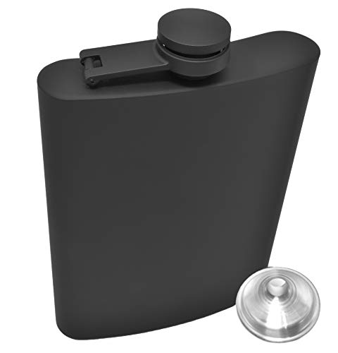 Hip Flask for Liquor 8 Ounce Stainless Steel Black Matte Black Hinge Leakproof with Funnel in Black Box for Men and Women by IDALIO