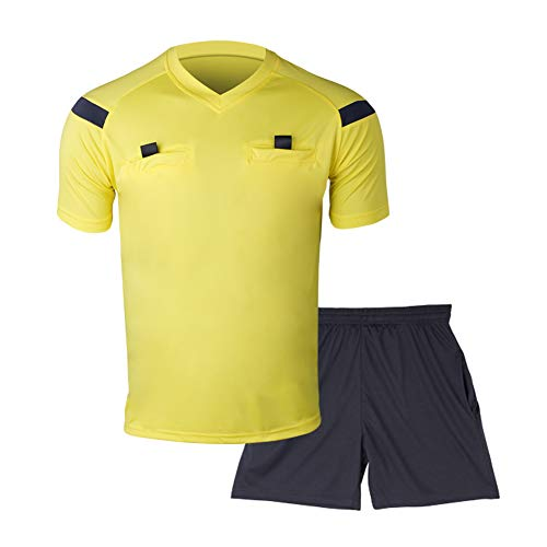 Shinestone Soccer Short Sleeves Referee Jersey Men's Referee Shirt (Yellow, XX-Large) ()