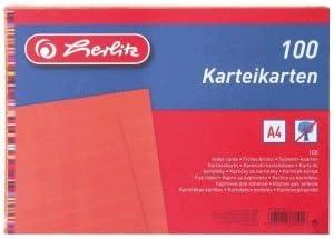 Herlitz Karteikarten A7 Wei/ß, 200 Karten liniert