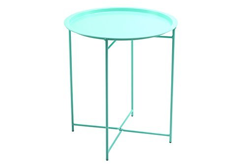 Finnhomy Collapsible Metal Folding Tray Side Table, Mint Green