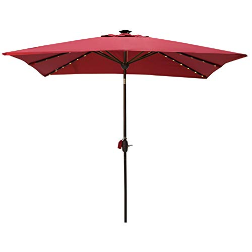 - SORARA Patio Umbrella with Solar Powered Rectangular Table Umbrella with Solar Powered 128 LED Lights with Tilt&Crank&Umbrella Cover, 7 by 9 Feet, Jockey Red