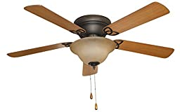 Litex AC52ABZ5C1 ASCOT 52-Inch Aged Bronze Finish Ceiling Fan with Five Reversible Golden Maple/ Mahogany -  Butterfly Blades and Single Light kit with Teastain Glass