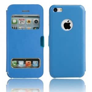 Magnetic Snap Leather Protective PC Case for iPhone 5C Blue