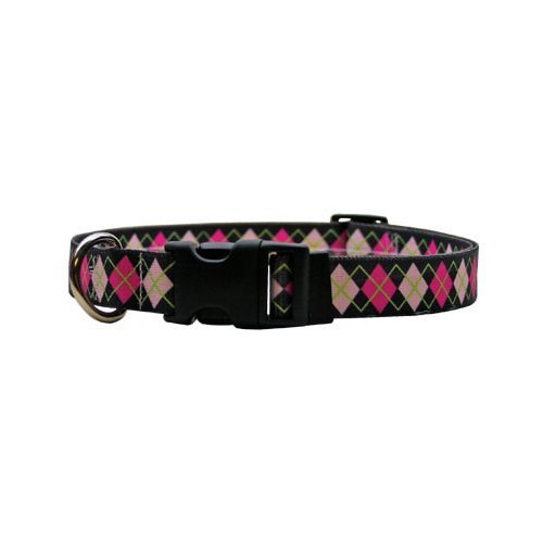 "Pink Argyle Dog Collar - Size Medium 14"" to 20"" Long - Made In The USA"
