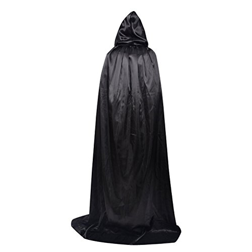 iHomepack Unisex Hooded Cloak Role Cape Full Length For Halloween Cosplay Costumes (mysterious black)