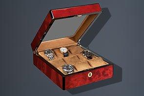 Venlo Triple Burlwood 9 Display Watch Holder