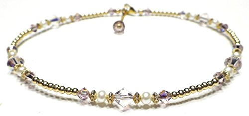 - DAMALI Gold Filled Ankle Bracelets Alexandrite Swarovski Crystal Beaded June Birthstone Jewelry