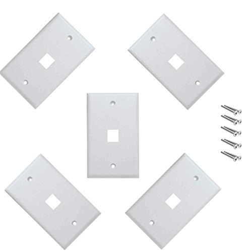 iMBAPrice Cat5e / Cat6 Keystone Wall Plate - White (1 Port - Pack of -