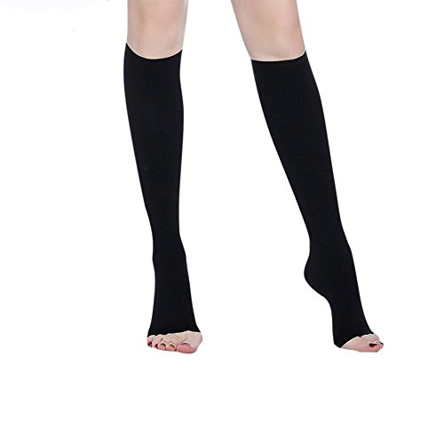 Compression Socks 20-30 mmHg (1 Pair) for Women & Men Best Medical, Nursing, for Running, Athletic, Edema, Varicose Veins, Pregnancy & Maternity - Below Knee High Stockings.(Black,Open-XL