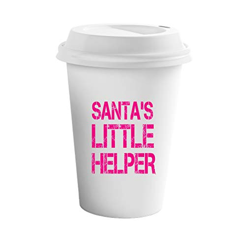 Style In Print Hot Pink Santa's Little Helper #2 Ceramic Coffee Tumbler Travel Mug