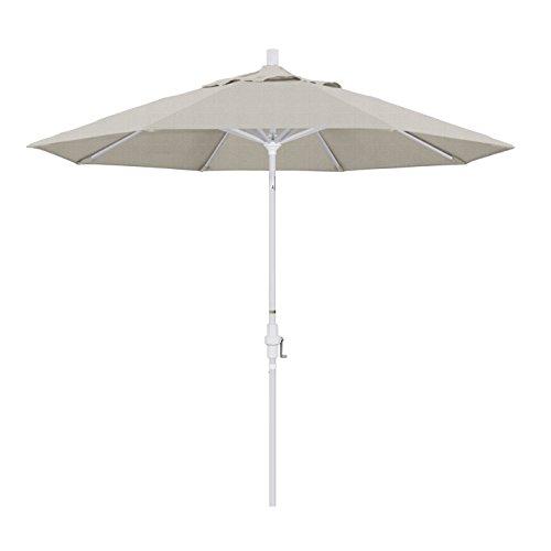 California Umbrella 9' Round Aluminum Market Umbrella, Crank Lift, Collar Tilt, White Pole, Woven Granite Olefin