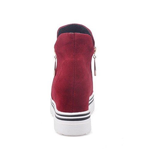 Scarpe Da Donna Allhqfashion Imitate In Camoscio Con Cinturino Alla Caviglia E Tacco Alto Rosso