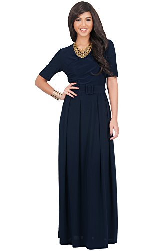 KOH KOH Plus Size Womens Long Half Short Sleeve Belt Flowy Wedding Party Elegant Evening Work Formal Casual Modest Floor Length Vintage Gown Gowns Maxi Dress Dresses, Navy Blue 3XL 22-24