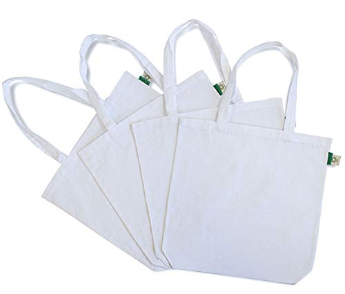 4 Pack Certified Organic Cotton Canvas Tote Bag Eco Friendly Grocery Bags, Crafting and Personalized Gift Bags 15.7x3.3x15.7