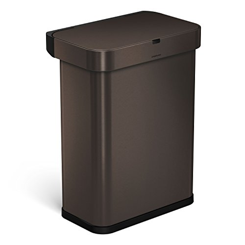 simplehuman 58 Liter / 15.3 Gallon Stainless Steel Touch-Free Rectangular Kitchen Sensor Trash Can with Voice and Motion Sensor, Voice Activated, Dark Bronze Stainless Steel ()